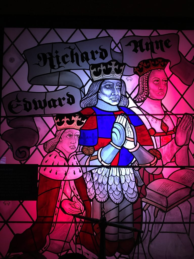 Stained glass of Richard, his wife Ann and his son, Edward