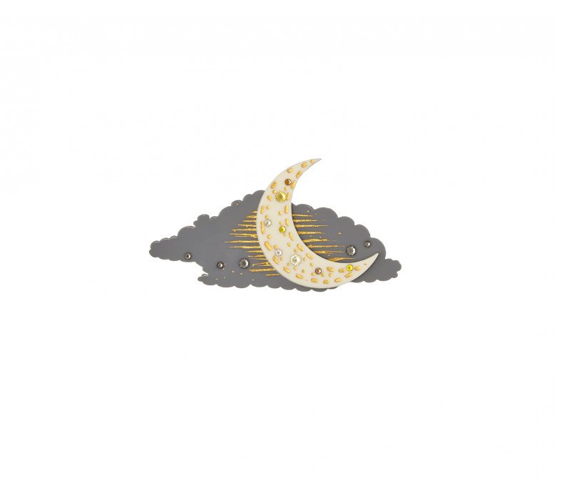 Crescent Moon brooch, £55, by Tatty Devine