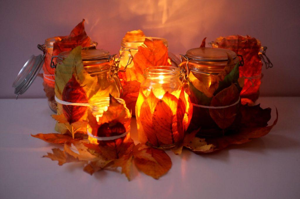 Leaf-wrapped lanterns