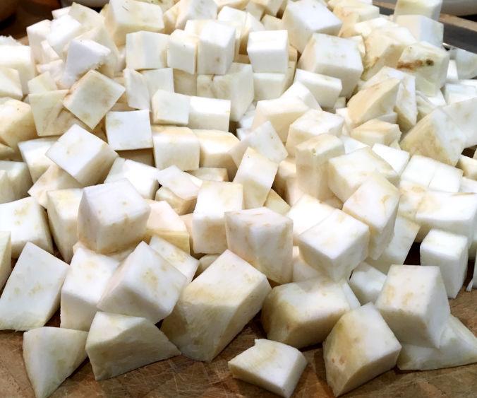 diced celeriac cubes